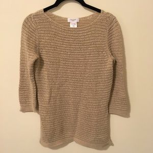 Kate Hill Sweaters - Kate Hill Tan Cotton Knit Sweater
