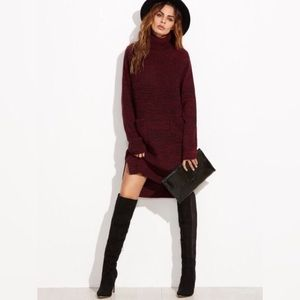 HP-Burgundy Knit Turtleneck High Low Sweater Dread