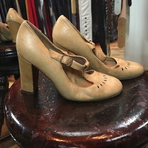 A.P.C. Shoes - A.P.C. Tan leather Mary Jane stack heels