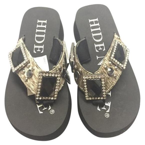 bcc772cf7 Brindle Hide N Sole Western Sandals