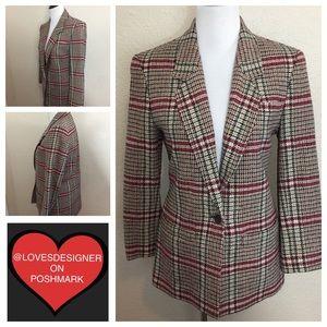 Pendleton Brown & Red Plaid Wool Blazer