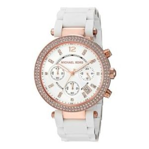 Michael Kors Accessories - Michael Kors Parker White Silicon rose gold watch