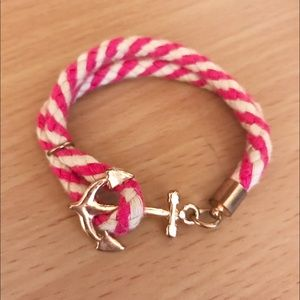 Jewelry - Pink and White Braided Bracelet with Gold Anchor