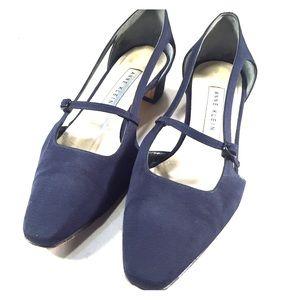Anne Klein Shoes - ANNE KLEIN Navy Strappy Fabric Low Heels- Sz 6M