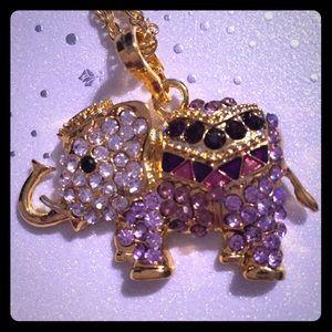 Jewelry - 💜GEMSTONE COVERED ELEPHANT NECKLACE➕GOLD BANGLE💜