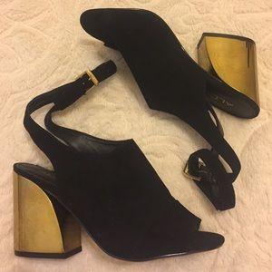 Aldo Shoes - Black suede gold heel ALDO