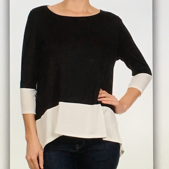 🌸Black and🌸white high low 3/4 sleeve blouse