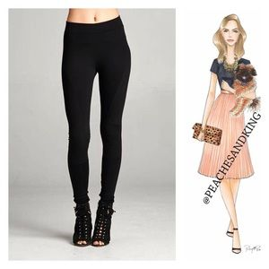 Pants - Black Leggings with Side Embellishment