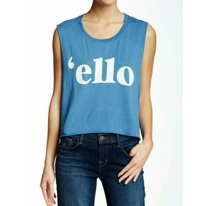 Wildfox Tops - WILDFOX BLUE 'ELLO' TEE SHIRT