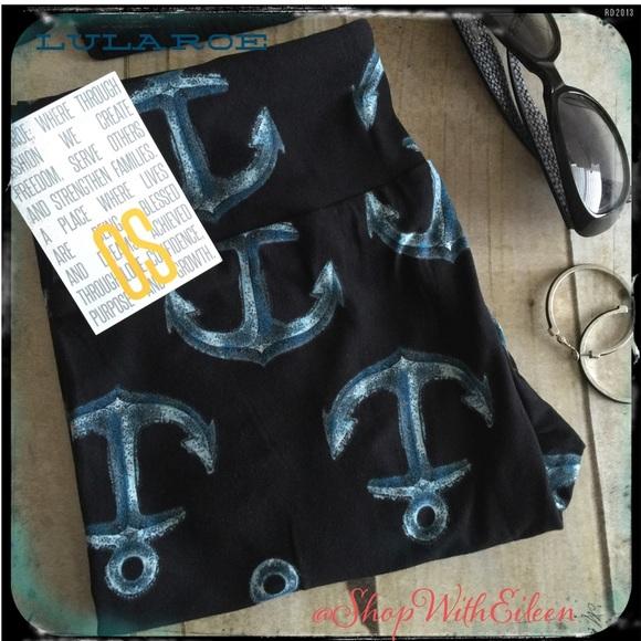 69843c98533a9 LuLaRoe Pants   Anchor Blue Black Os Leggings   Poshmark