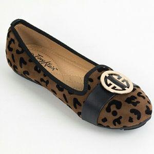 Tory Klein  Shoes - Women Animal Print Flats with Buckle B-1626, Brown
