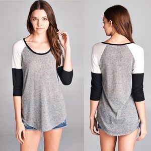 ❣️One Left❣️Grey and black color block top