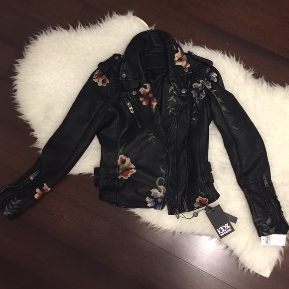 Blank NYC Jackets & Blazers - Blank NYC embroidered faux leather jacket