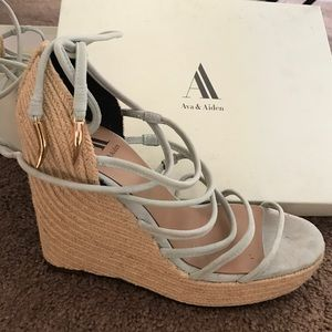 ava & aiden Shoes - Ava&Aiden Lace Up Straw Wedge & Gold metal accent