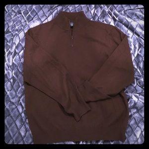 Bloomingdales Brown 1/4 Zip Cashmere Sweater