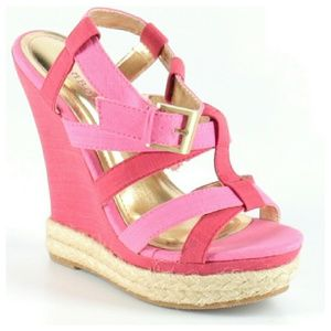 Bamboo Espadrille Pink Colorblock Wedges Sz6