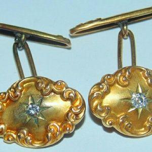 Other - Victorian 14k gold .25ct  diamond cufflinks