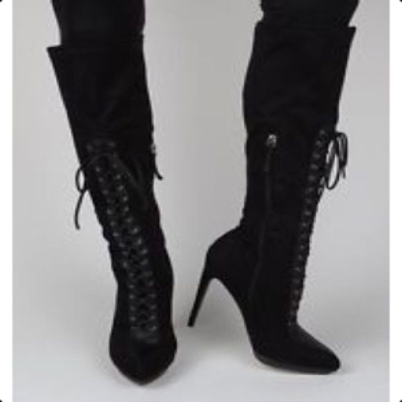 Beyond Black Faux Suede Lace Up Stiletto High Heels
