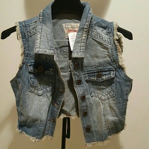 a'gaci Jackets & Blazers - Denim jacket vest with denim fringe