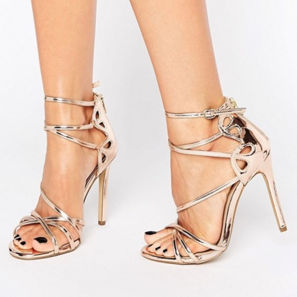 River Island Shoes Wide Fit Metallic Cross Strap Heels