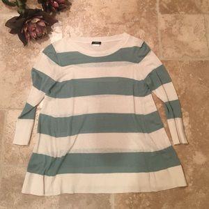 J.Crew Striped Shirt in Cream and Sea Foam Green