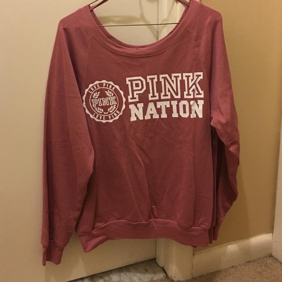 51% off PINK Victoria's Secret Tops - VS Pink Nation Sweatshirt ...
