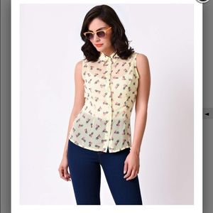 Voodoo Vixen Tops - Retro Pineapple Button Chiffon Top