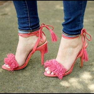Shoes - Fringed tie heels