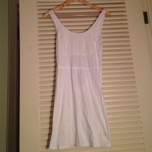 Kirra white cotton sun dress with back detail.