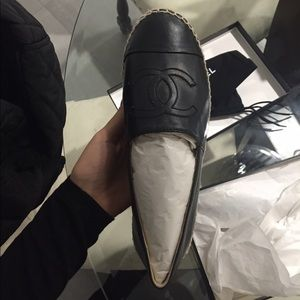CHANEL Shoes - Chanel black leather espadrilles