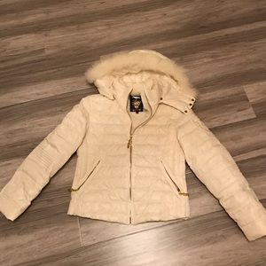 Faith Connexion Jackets & Blazers - Faith Connexion ivory puffy jacket with fur hoodie