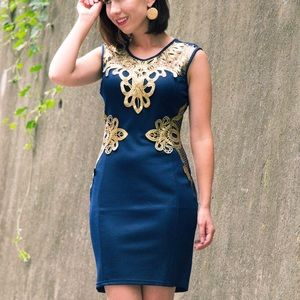 Dresses & Skirts - Navy sleeveless bodycon dress with gold trim