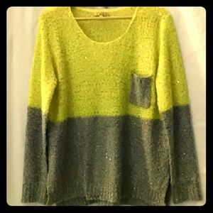 Cecico Sweaters - Lemon/Gray Sparkle Sweater Size  M
