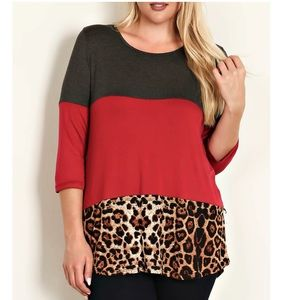 Tops - Sale! Color Block Knit Top With Lace Crochet