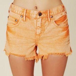 Size 26 Free People Orange Denim Shorts