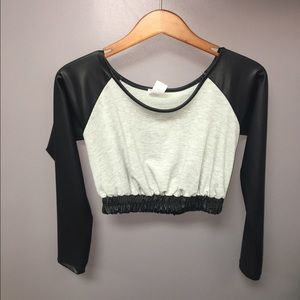 Faux leather sleeve crop top