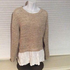 Blu Pepper Sweaters - Blu Pepper Knit Sweater Eyelet Lace Detail Bottom