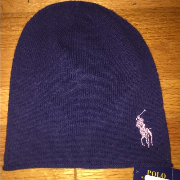 86cdce8bf30 SALE Polo Ralph Lauren Navy Wool Cashmere Hat