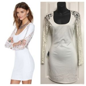 NWT White Body Con Long Sleeves White Dress XS