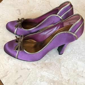 Miu Miu Satin peep-toe heels size 39 1/2- purple