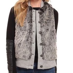 Three Dots Jackets & Blazers - THREE DOTS💥$198 Faux Fur Gray Jersey Vest