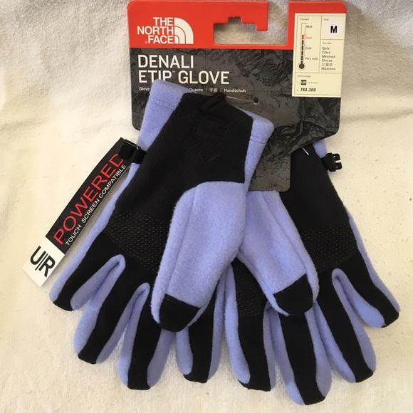 190de557e NWT! The North Face Denali Etip Gloves Girl's Sz M Boutique