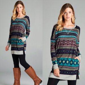 ❣️LAST❣️ Winter Navajo Print Warm Long Tunic Top