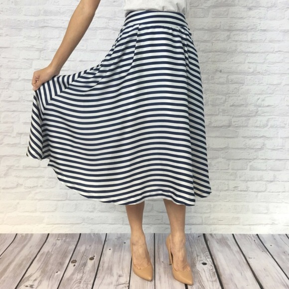 relished blue white striped midi skirt from adiel s
