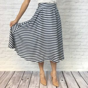 Relished Dresses & Skirts - Blue & White Striped Midi Skirt