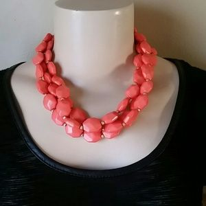 Coral Orange and Gold Statement Necklace