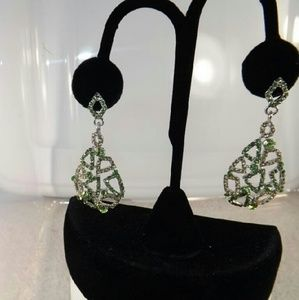 Light Green & Light Yellow Sparkle Dangle Earrings