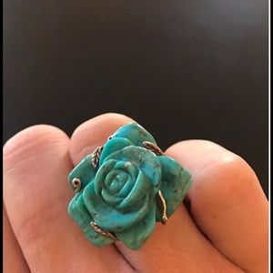 Jewelry - Exquisite carved turquoise and silver, rose ring.