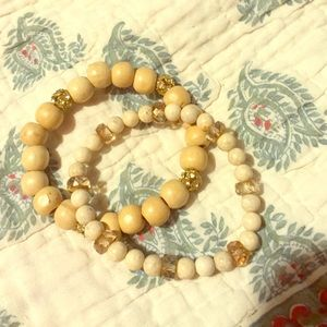 Anthropologie Wood/Glass/Rhinestone Bracelets