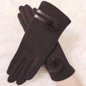 Accessories - Chocolate Brown Fur Trim Touch Scene Gloves